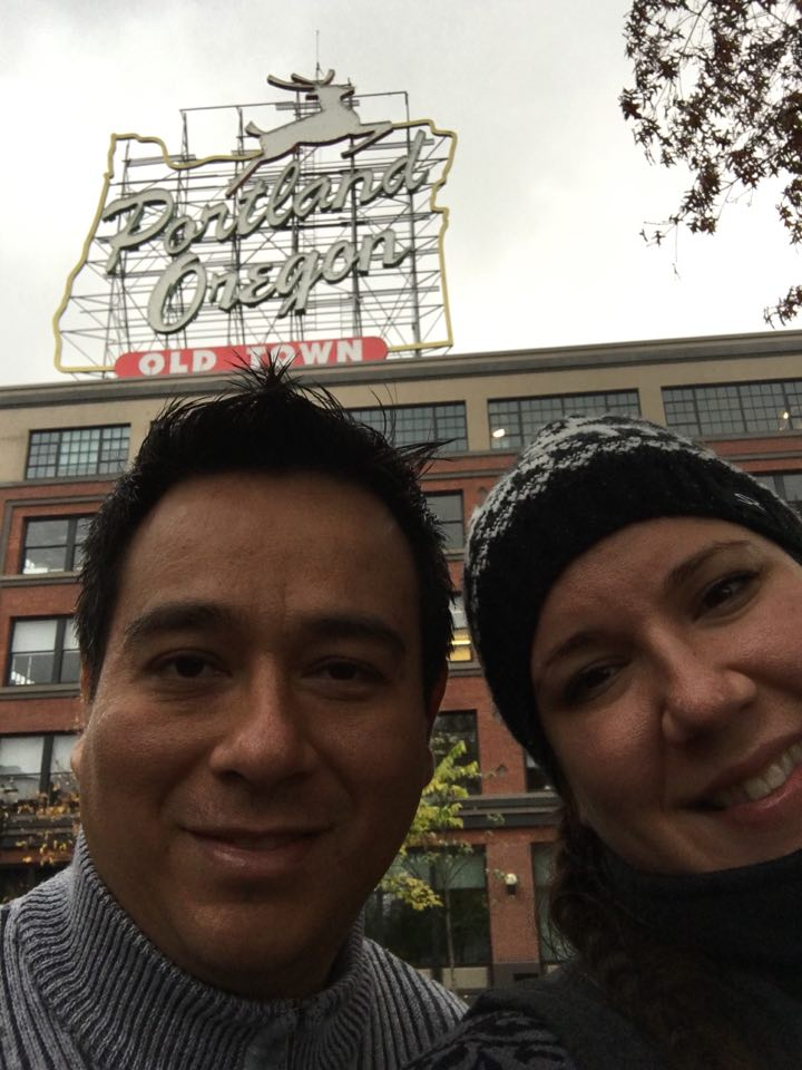 Two regular married people wrapping up the honeymoon with a stop in Portland.