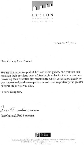 Letter of Support from Huston School, NUI, Galway