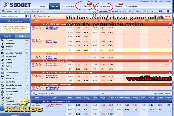 Pilih Live Casino atau Game Casino