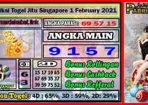 Prediksi Togel Jitu Singapore Senin 1 February 2021