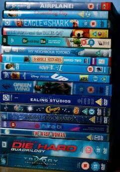 Blue DVDs.