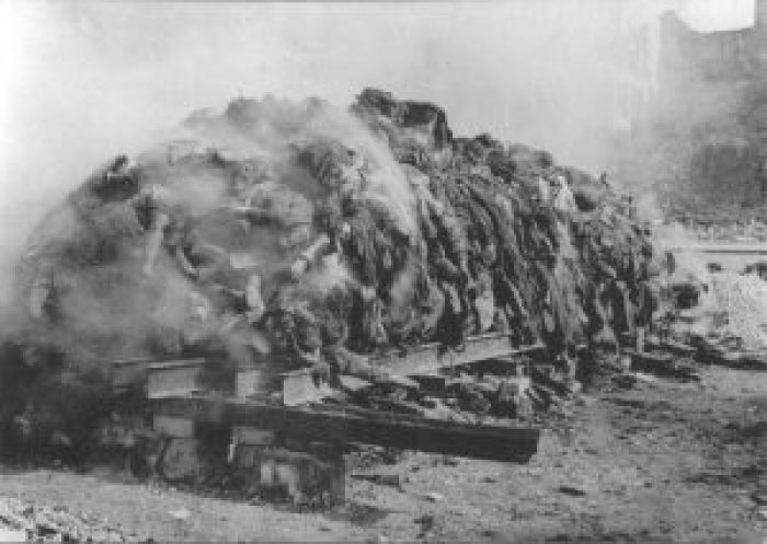 Burning German corpses after the allied bombing of Dresden