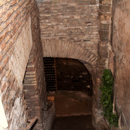 Walking down the stairs into the cellar.
