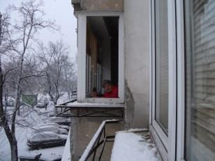 Me at my Puławska St window relishing snow