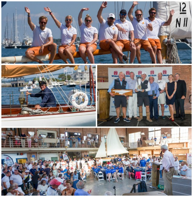 Clockwise from top: Vema III (N-11) in the 12 Metre Parade; Earl McMillen of Onawa (US-6) in parade dress; Courageous (US-26) accepts Waypoints Series Trophy; Awards Ceremony at the International Yacht Restoration School.(Photo Credit: Ian Roman)
