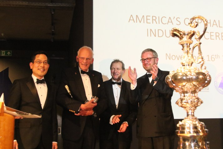 ITMA President, Wm. H. Dyer Jones inducted to the America's Cup Hall of Fame along with Henry Racamier and Bill Trenkle at Robbe & Berking Yachting Heritage Center in Flensburg, Germany on November 16, 2019