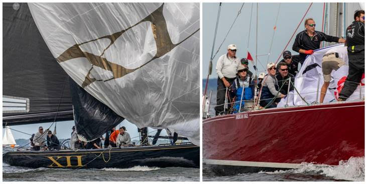 Action aboard winners Challenge XII and American Eagle at the 2018 12 Metre North American Championship held in Newport, R.I.  (Photo credits: Stephen Cloutier)