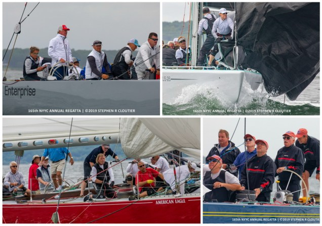 Clockwise from top left at the Annual Regatta: Clay Deutsch at the helm of Enterprise (US-27), crew work aboard Courageous (US-26), and American Eagle (US-21), Dennis Williams at the helm of Victory '83 (K-22) (Photos Credit: Stephen R. Cloutier)