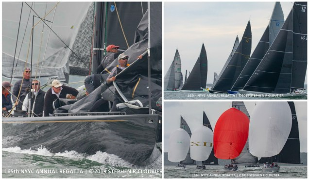 Left: Challenge XII (KA-10) won the highly competitive Modern Division at the New York Yacht Club's 165th Annual Regatta. Right: Modern fleet on the starting line and sailing downwind at the Annual Regatta. (Photos Credit: Stephen R. Cloutier)