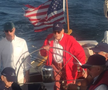Harry Anderson at the helm of Weatherly (US-17), 2016