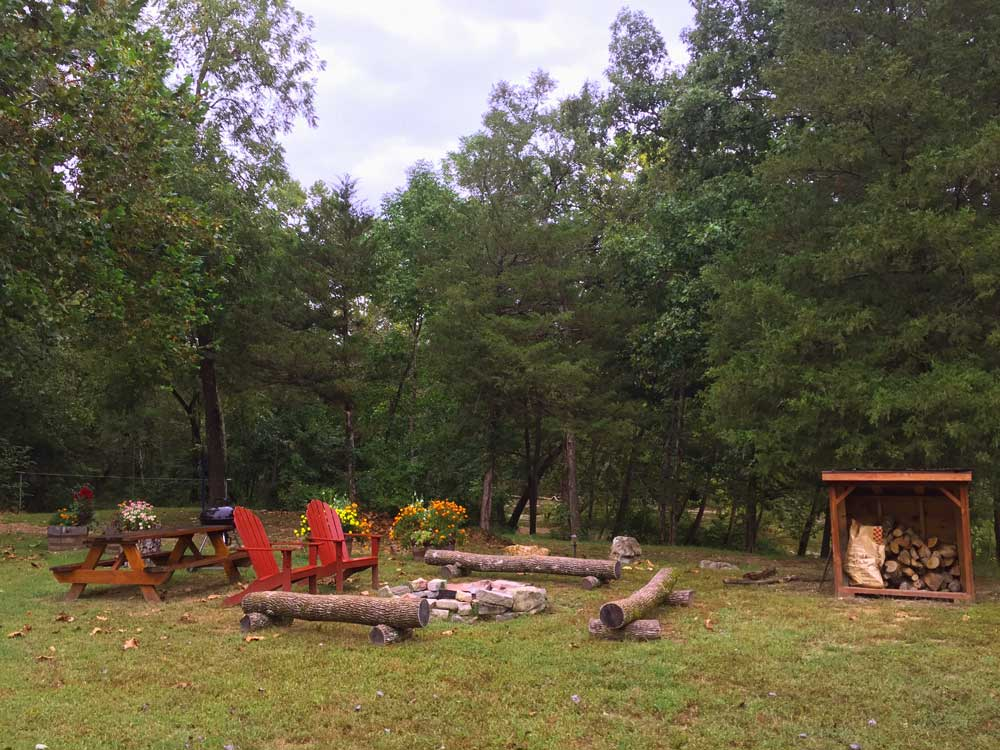 fire pit outside cabin