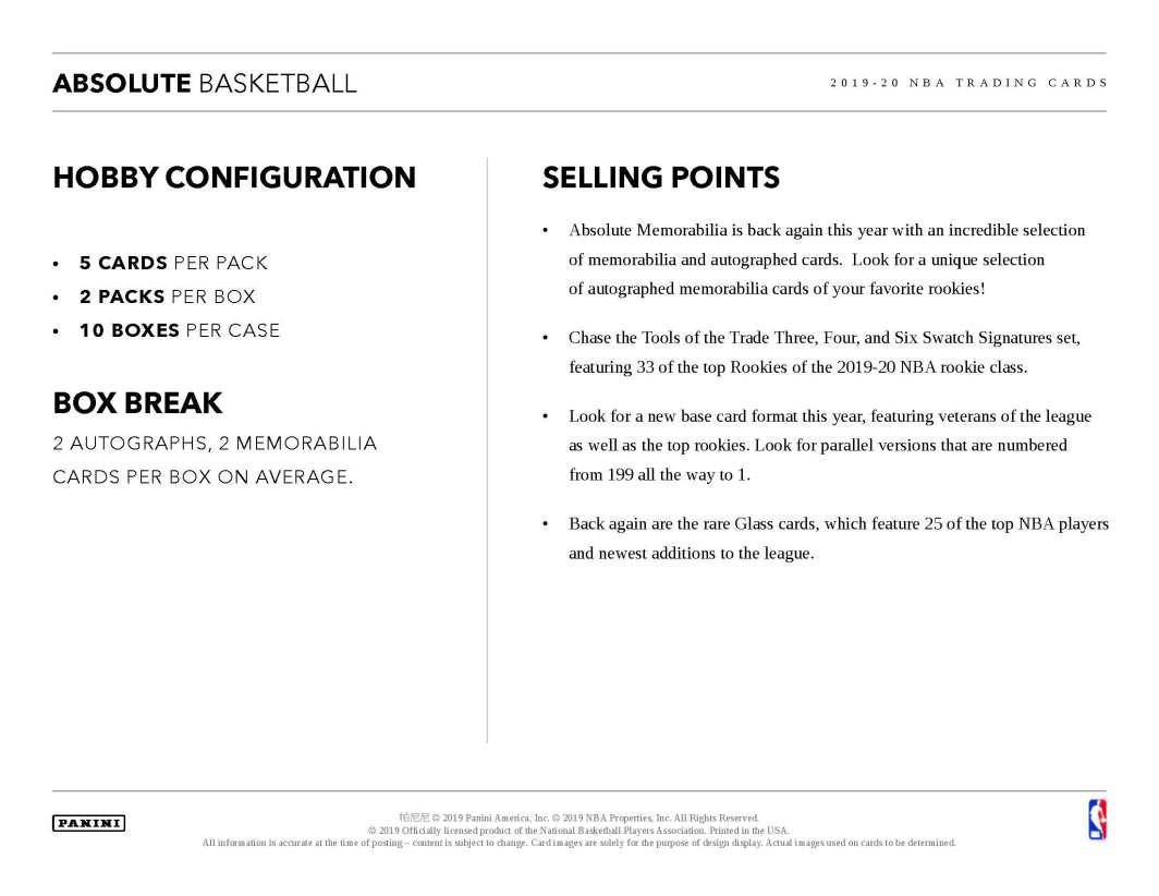 2019-20 Panini Absolute Basketball Sell Sheet 04