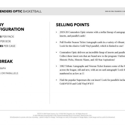 2019-20 Panini Contenders Optic Basketball Sell Sheet