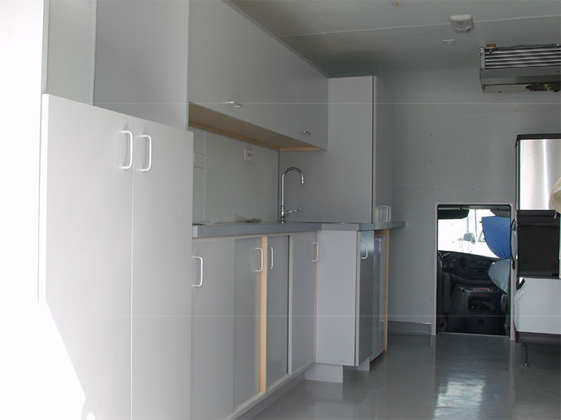 cabinets inside alcor transport vehicle