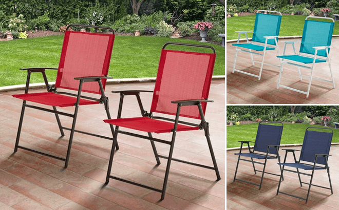 mainstays sling folding chair set of