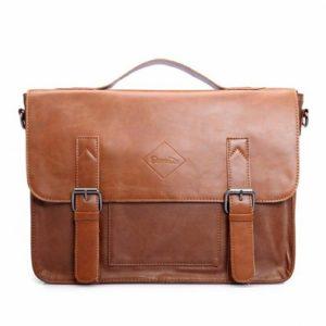 Zebella vintage leather briefcase light brown
