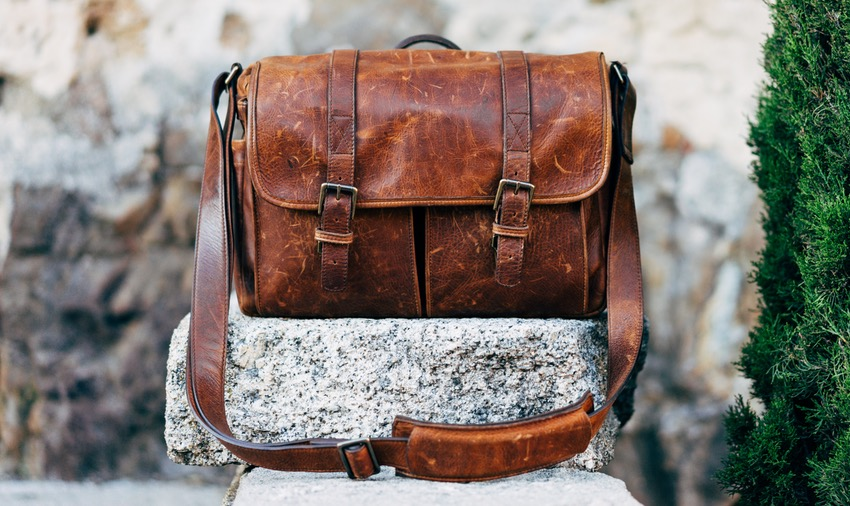 Leather Messenger Bag on a Stone