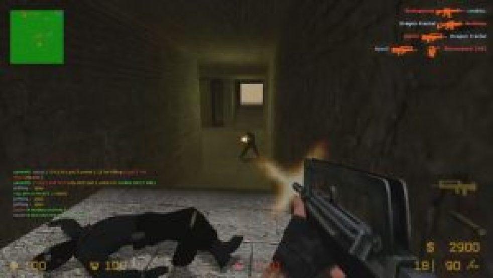 "A screenshot of the Gun Game mod in 'Counter-Strike: Source"""