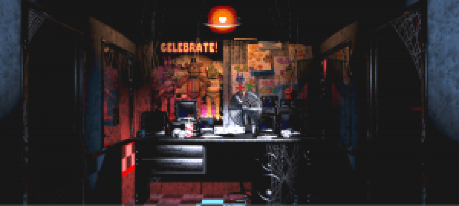 The Night Guard's Office in FNAF. Image from the official Wikia page.