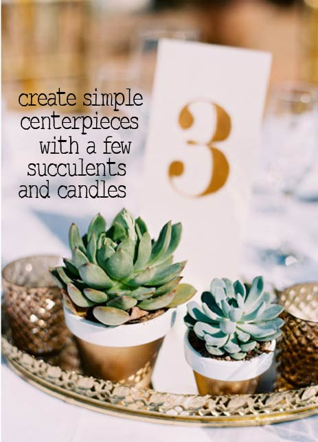 create simple centerpieces with a few succulents and candles