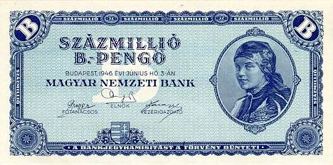 Worthless 100 million bilpengő banknote, 1946