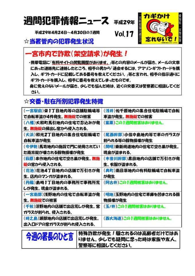 週間犯罪情報ニュース No17