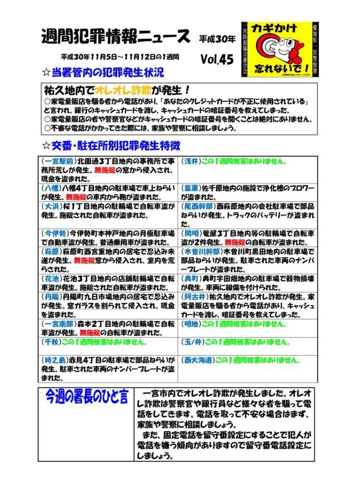 週間犯罪情報ニュース Vol.45