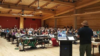 Attentive audience in UW's beautiful wǝɫǝbʔaltxʷ - Intellectual House during the Living Breath Symposium Photo via https://www.facebook.com/UWLivingBreath/