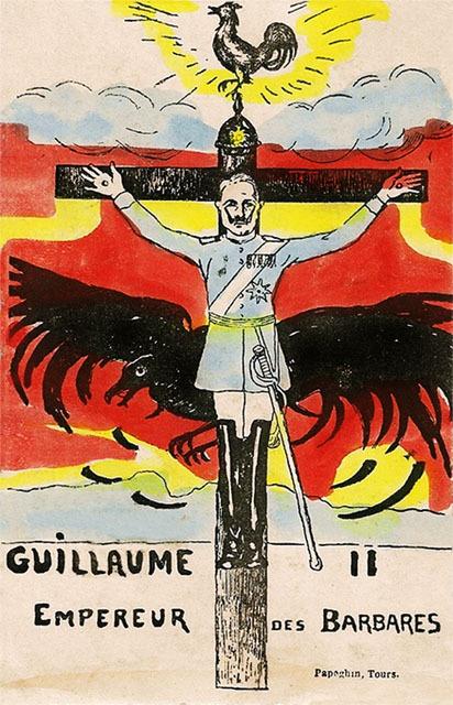"""Un empereur des barbares """"crucifié"""", sous le coq gaulois !!! ...la victoire du gallinacé sur le rapace."""