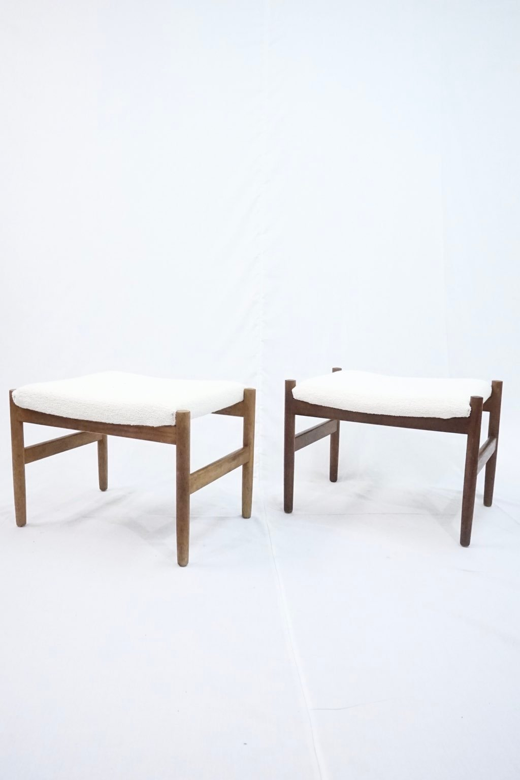 Spøttrup teak stools with boucle upholstery : Price upon request