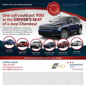 Higgins Insurance Group Auto  Home Insurance Jeep Cherokee Select Sweepstakes