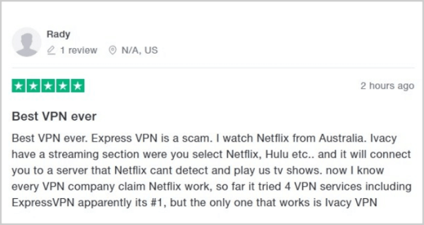 user-on-trustpilot-suggestive-ivacy-over-expressvpn