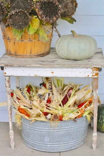 dry sunflowers with Indian corn and pumpkin