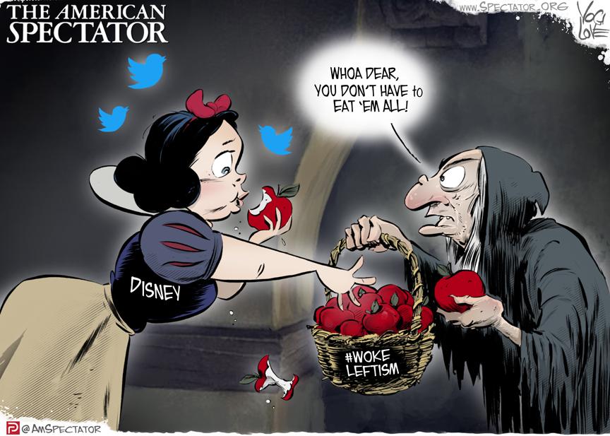 """Disney Eats the Poisoned Apple,"" editorial cartoon by Yogi Love forThe American Spectator, February 15, 2021, spectator.org"