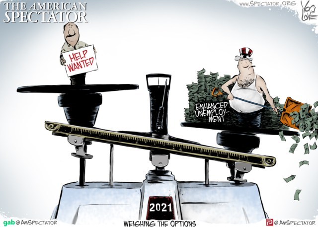 """Weighing the Options,"" editorial cartoon by Yogi Love for The American Spectator, spectator.org, April 30, 2021."