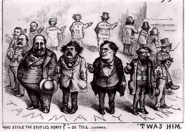"Image of Thomas Nast's Tammany Ring cartoon published in Harper's Weekly in 1871, making fun of ""Boss"" Tweed. Illustrating piece on the necessity of political humor (Wikimedia Commons) spectator.org"