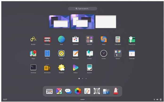 GNOME mockup: apps grid