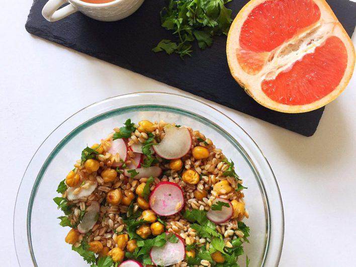 Vegan Grapefruit Grain Salad with Roasted Chickpeas