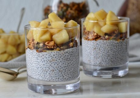 vegan apple chia puddings with homemade apple compote and granola
