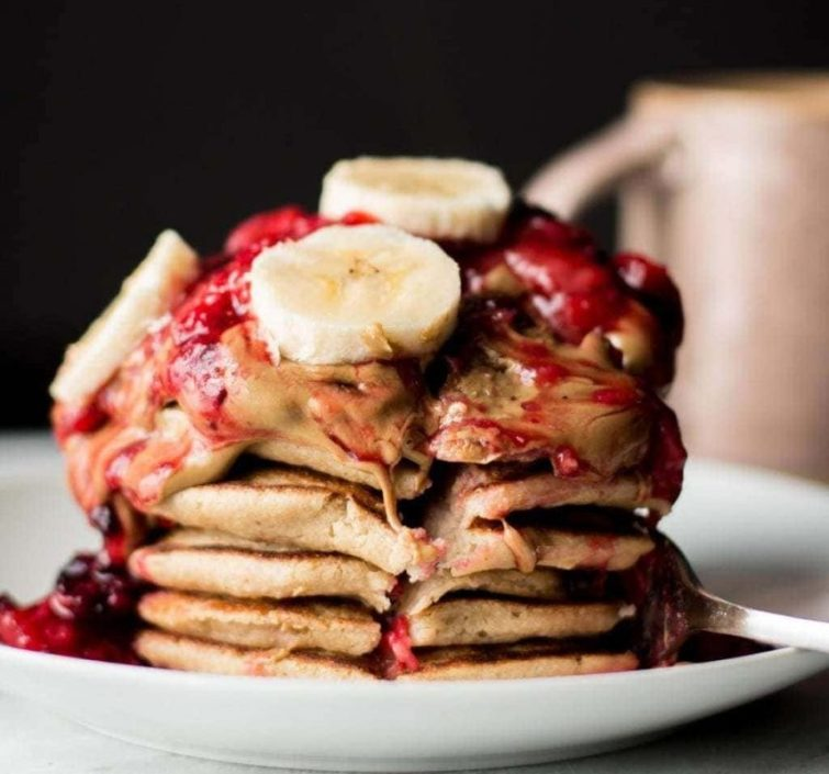 Banana Oatmeal Blender Pancakes with Berry Compote
