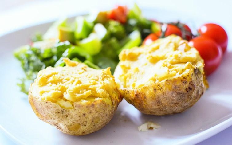 Twice Baked Cheese Hummus Potatoes