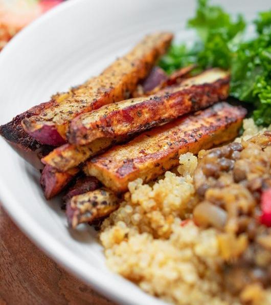 Vegan Cajun Spiced Japanese Sweet Potato Fries