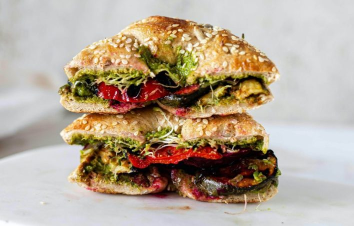 Grilled Zucchini Sandwiches with Spinach Pesto