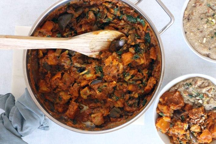 Vegan Moroccan-Spiced Vegetable Stew with Lemon Almond Amaranth