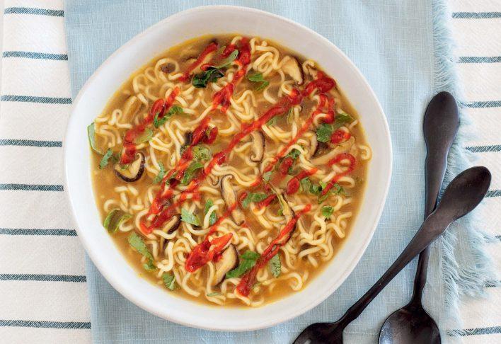 Vegan Miso Soup with Shiitake Mushrooms and Ramen Noodles