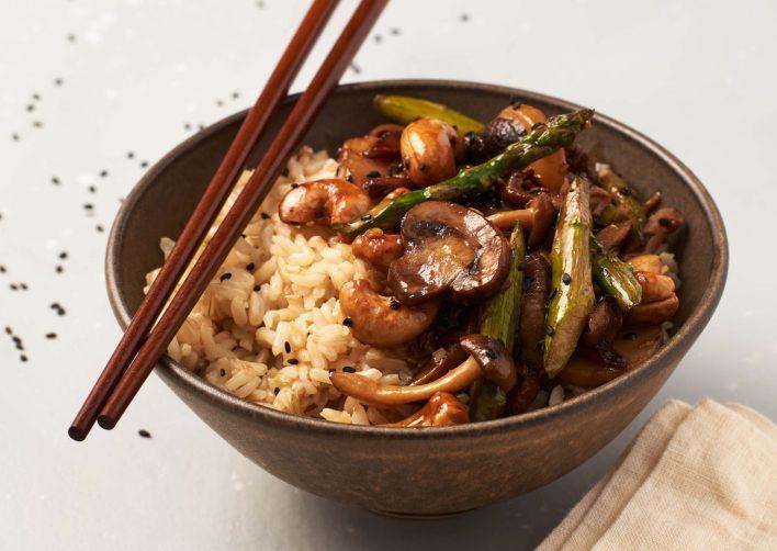 Vegan Asparagus and Mushroom Stir-Fry Bowls