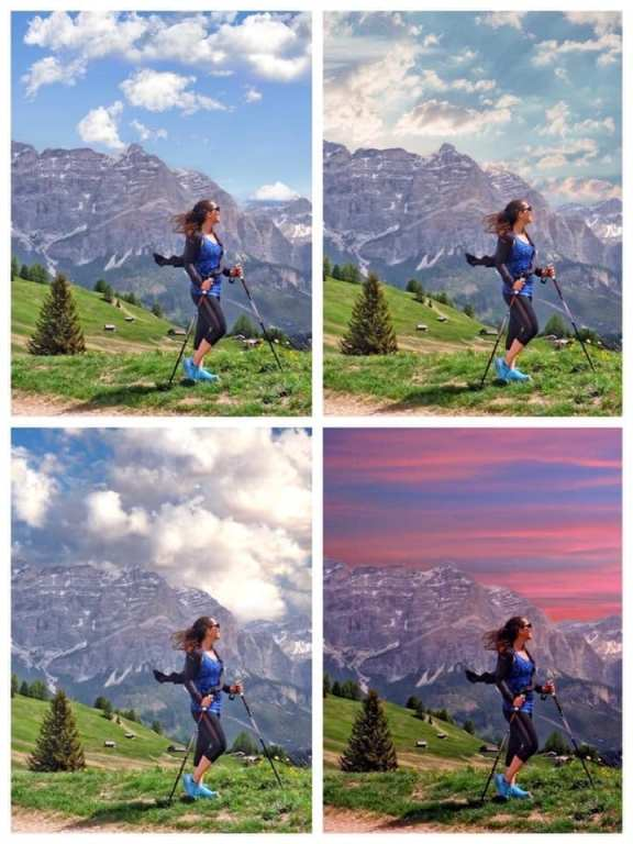 Four photos of Kate in front of the same mountaintop with different kinds of skies behind her.