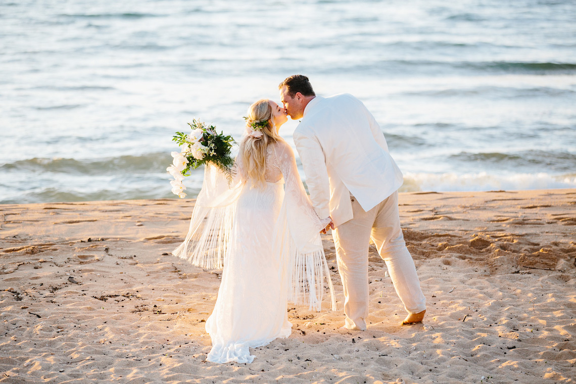 This Hawaiian Beach Wedding Features One Of Our Favorite Boho Gowns Ever