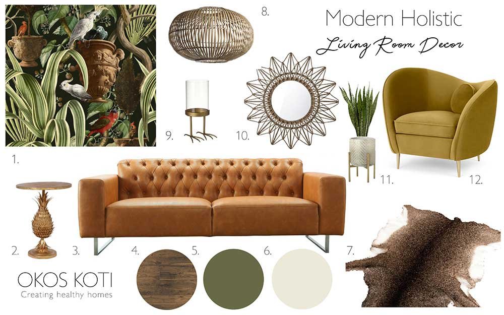 Green Living Room Okos Koti Inspire Conscious Interior Design