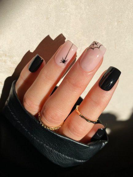 Short simple black spider Halloween nails